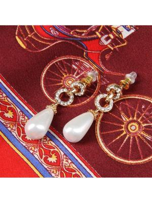 73026 Набор подарочный, Платок+серьги Venuse. Цвет: бордовый, белый