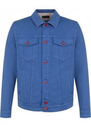 Джинсовая куртка с контрастными пуговицами Kiton. Цвет: синий