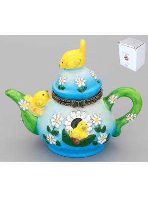Шкатулка - сувенир Солнечный чайник Elan Gallery. Цвет: зеленый, голубой, желтый