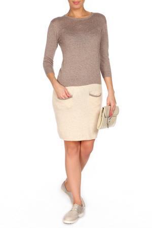Повседневное платье с имитацией джемпера ODEKS-STYLE. Цвет: коричневый, синий