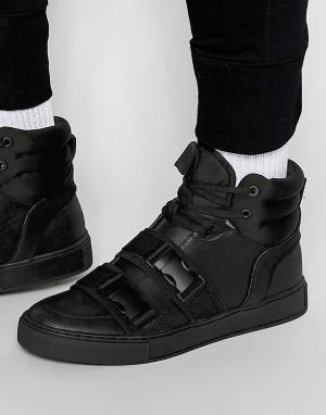 Dark Future Высокие черные кроссовки с ремешками и пряжками. Цвет: черный