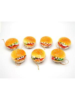 Муляж Гамбургер в асс. на подложке, c магнитом, с подвесом,арт.18645 / 6.5х6.5х3см Яркий Праздник. Цвет: светло-голубой, молочный, персиковый