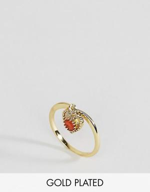 Rock 'N' Rose Кольцо с сердоликом для родившихся в июле N. Цвет: золотой