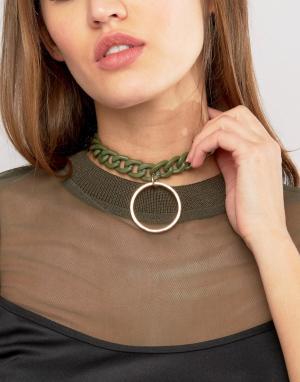 ASOS Ожерелье-чокер в виде цепочки с подвеской. Цвет: зеленый