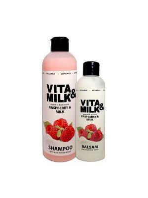 Шампунь VitaMilk 500мл, Бальзам 250мл, аромат: Малина VITA-MILK. Цвет: розовый, белый