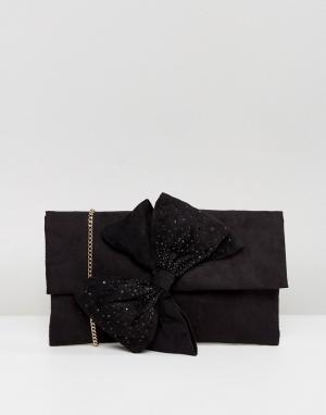 Lipsy Клатч с декоративным бантом и отделкой стразами. Цвет: черный