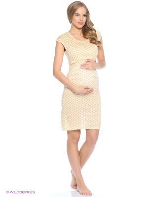 Ночная сорочка для беременных и кормления 40 недель. Цвет: бежевый