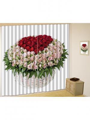 Комплект шторы, Гламур 150*270 (2) + тюль МарТекс. Цвет: зеленый, красный, розовый