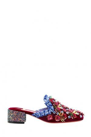Бархатные мюли с цветами Babouchkaflor 35 Christian Louboutin. Цвет: фиолетовый