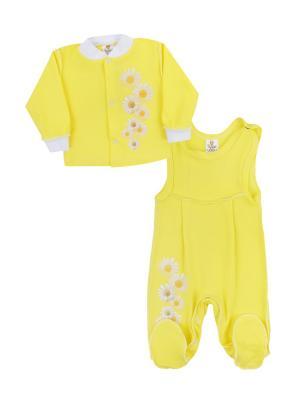 Набор одежды: кофточка, полукомбинезон Коллекция Ромашки КОТМАРКОТ. Цвет: желтый