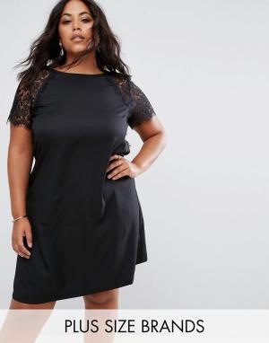 Praslin Свободное платье с кружевными рукавами. Цвет: черный