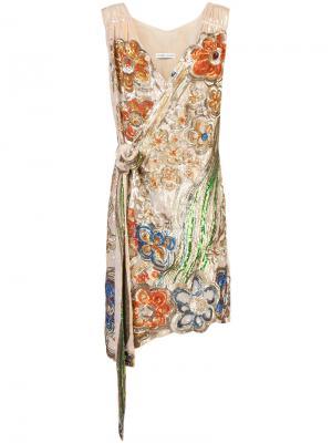 Декорированное платье с запахом Tsumori Chisato. Цвет: металлический
