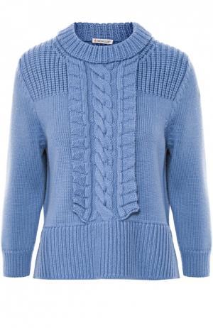 Пуловер с укороченным рукавом и фактурной отделкой Moncler. Цвет: голубой