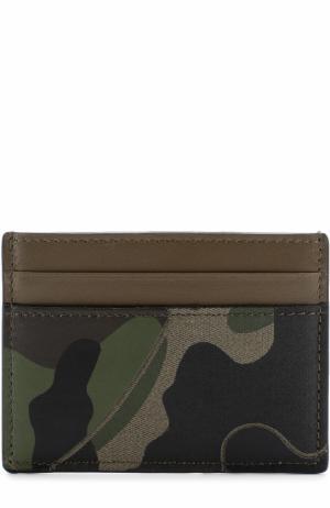 Кожаный футляр для кредитных карт с текстильной отделкой Valentino. Цвет: хаки