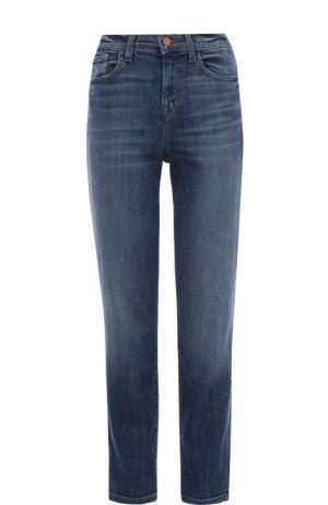 Укороченные джинсы прямого кроя с завышенной талией J Brand. Цвет: голубой
