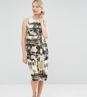 ASOS Maternity Платье миди для беременных с абстрактным принтом. Цвет: мульти