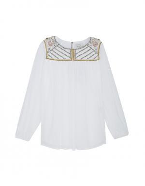 Хлопковая блузка Paul & Joe. Цвет: белый, золотой