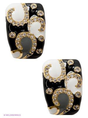 Серьги Happy Garnets. Цвет: белый, черный, золотистый
