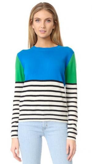 Кашемировый свитер в полоску с цветными блоками Chinti and Parker. Цвет: бирюзовый/мульти