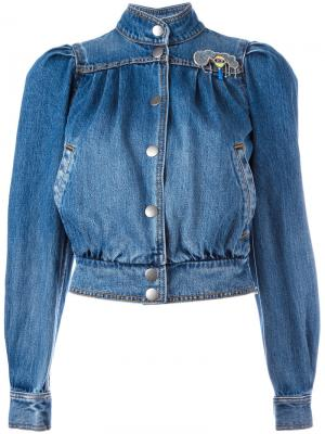 Куртка-бомбер в стиле 80-х Marc Jacobs. Цвет: синий