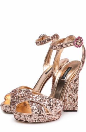 Босоножки с вышивкой пайетками на устойчивом каблуке Dolce & Gabbana. Цвет: бронзовый