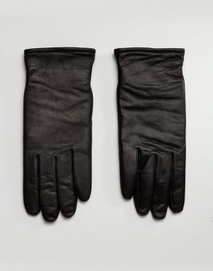 AllSaints Черные кожаные перчатки Yield. Цвет: черный