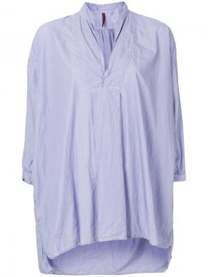 Блузка с укороченными рукавами клеш Daniela Gregis. Цвет: синий