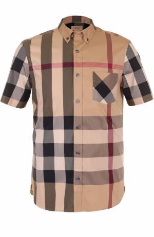 Хлопковая рубашка в клетку с короткими рукавами Burberry. Цвет: бежевый