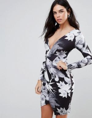 Jessica Wright Платье с длинными рукавами, пальмовым принтом и запахом. Цвет: черный