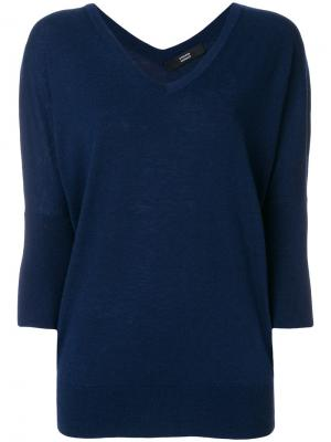 Пуловер с V-образным вырезом Steffen Schraut. Цвет: синий
