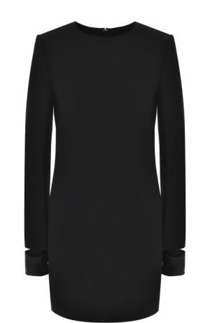 Мини-платье с круглым вырезом и длинным рукавом Helmut Lang. Цвет: черный