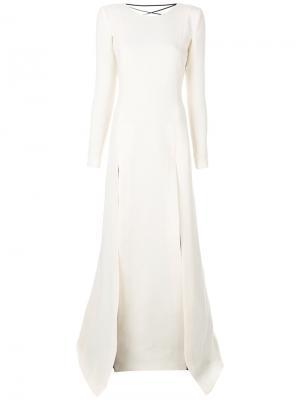 Платье с разрезми и отделкой в стиле корсета сзади Fausto Puglisi. Цвет: белый