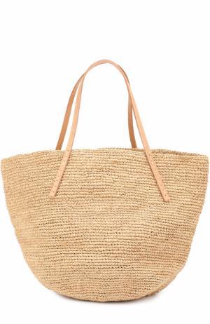 Плетеная сумка Kapity medium из рафии Sans-Arcidet. Цвет: бежевый
