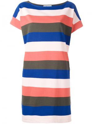 Полосатое платье-футболка YMC. Цвет: многоцветный