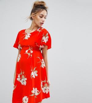 Queen Bee Чайное платье с цветочным принтом и завязкой на спине. Цвет: красный