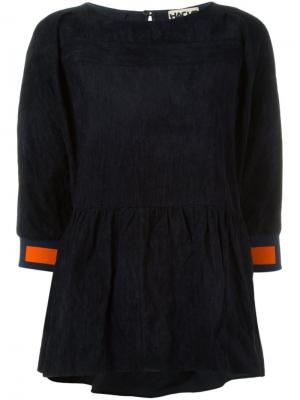 Блузка с баской Hache. Цвет: синий