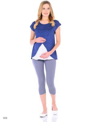 Блузка для беременных и кормящих Hunny Mammy. Цвет: синий, белый