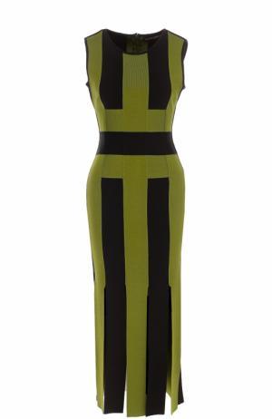 Приталенное платье-миди с высокими разрезами David Koma. Цвет: зеленый
