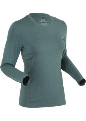 Спортивная футболка с длинным рукавом (зеленый эвкалипт/черный меланж) bonprix. Цвет: зеленый эвкалипт/черный меланж