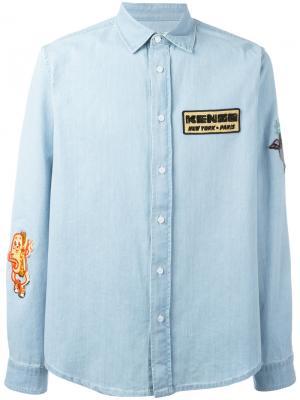 Джинсовая рубашка с нашивками Kenzo. Цвет: синий