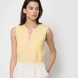 Блузка без рукавов, 100% хлопка, COLOR BLOCK. Цвет: черный