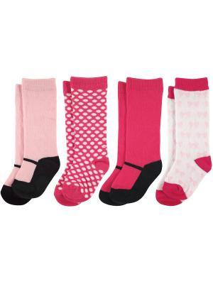 Носки, 4 пары Luvable Friends. Цвет: малиновый