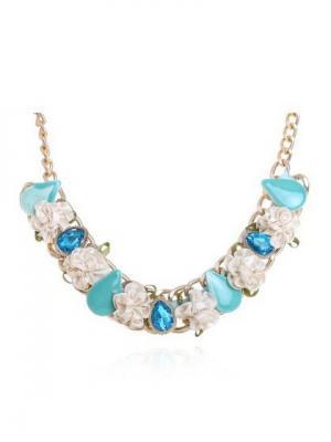 Ожерелье NeKi. Цвет: серо-голубой, светло-оранжевый