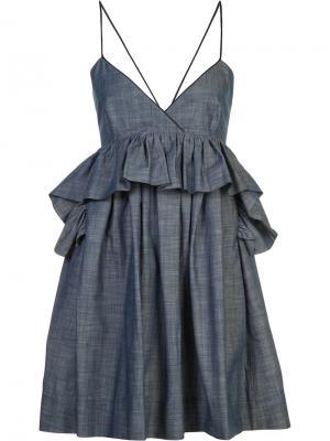 Платье Alessandra с баской Piamita. Цвет: синий