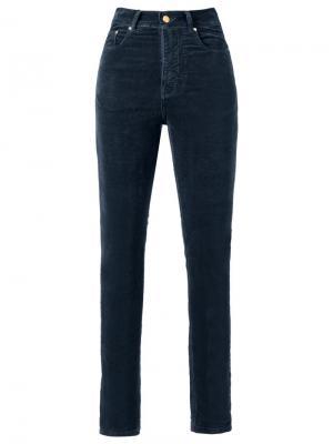 Бархатные брюки скинни с высокой талией Amapô. Цвет: синий