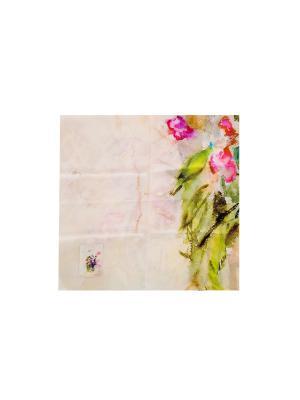 Платок Весенний букет, 90х90 см ArtNiva. Цвет: светло-зеленый, молочный, сиреневый