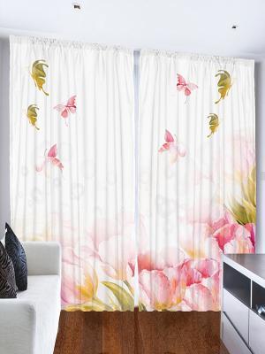 Фотошторы Сиреневые цветы, 290*265 см Magic Lady. Цвет: бледно-розовый