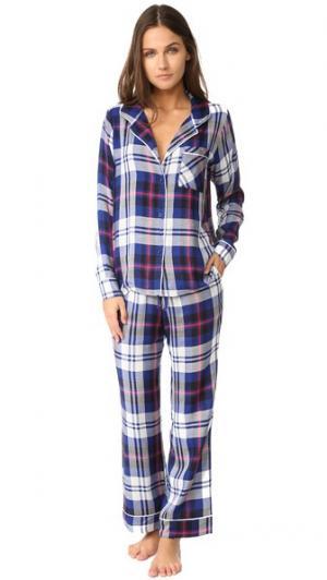 Суперскинни мягкой с длинным рукавом в клетку Пижамный набор Plush. Цвет: темно-синяя клетка