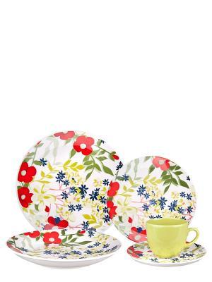 Набор столовый Сандей Biona. Цвет: зеленый, красный, белый