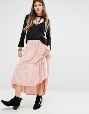 Rokoko Юбка миди с оборкой на подоле. Цвет: розовый